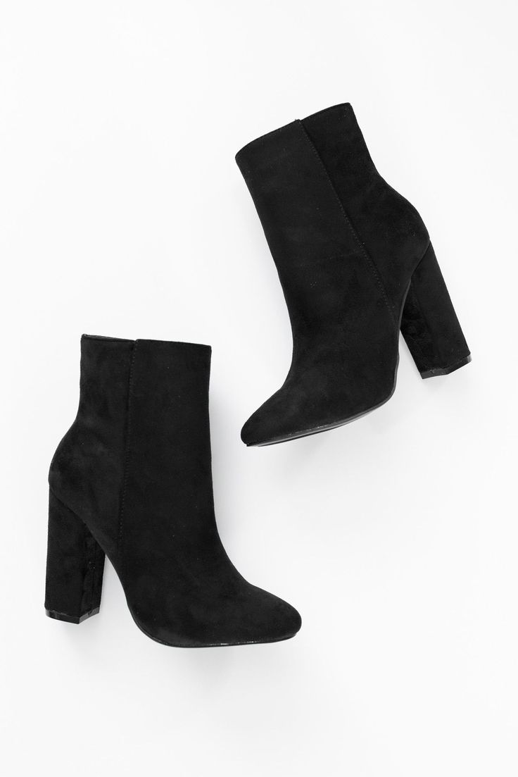 """Black faux suede high ankle booties with side zipper and 4"""" heel. Lightly padded insole. Slightly pointed toe. This style runs small, be sure to order a half size up. - All man made material - Importe"""