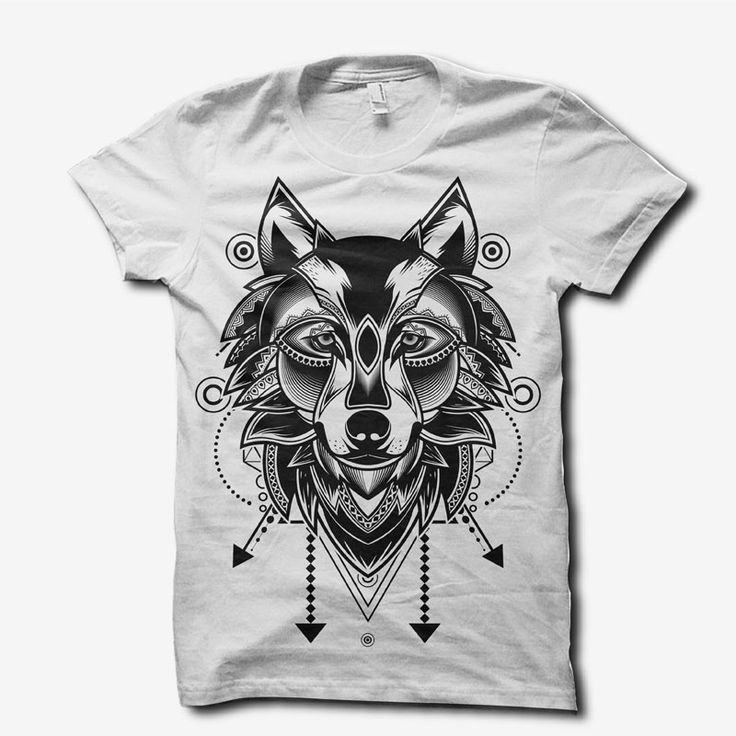 wolf doodle ornament T-shirt design