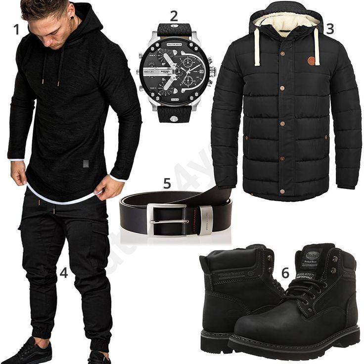 Schwarzer Street-Style mit Boots und Parka (m0736)