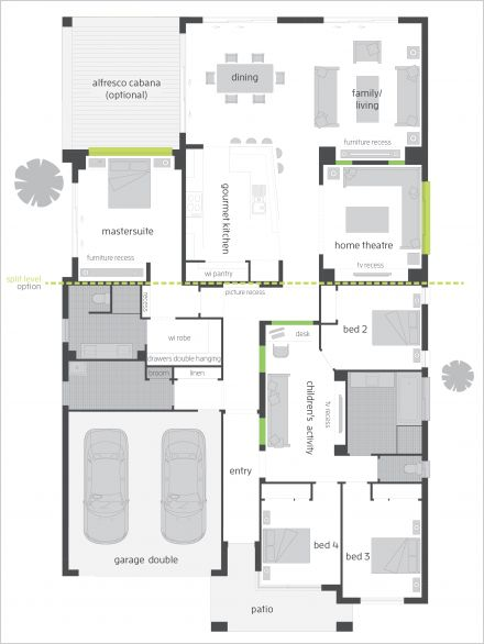 Milano One 15 Floor Plan by McDonald Jones - The Milano  balances sophistication with functionality. This architecturally designed home offers stylish open plan living with a seamless transition from indoor to outdoor areas. Learn more at http://www.mcdonaldjoneshomes.com.au/home-designs/new-south-wales-and-queensland/milano #luxuryhomes #modernhomes