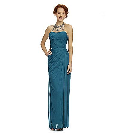Adrianna papell necklace halter gown dillards thinking for Jewelry for halter wedding dress