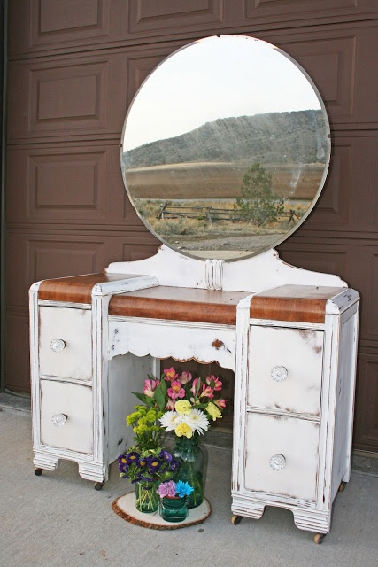 Antique Recreation: Antique Waterfall Vanity in White and Wood