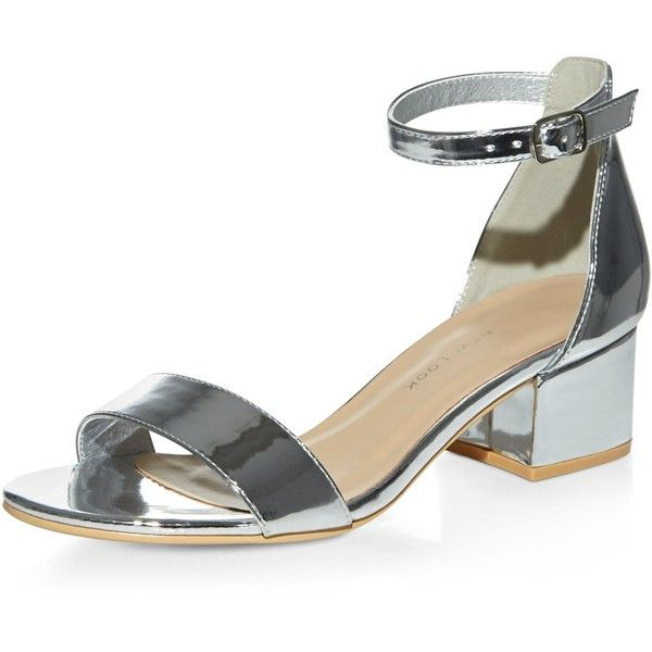 New Look Teens Silver Patent Heeled Sandals ($23) ❤ liked on Polyvore featuring shoes, sandals, silver, silver shoes, mid-heel shoes, silver block heel shoes, ankle strap sandals and ankle strap mid heel sandals