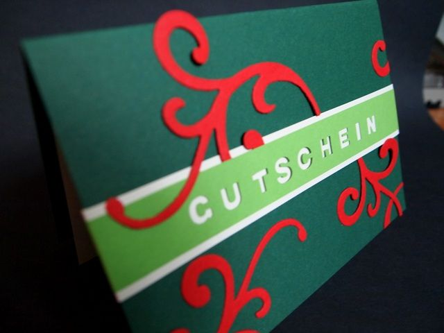 Gutschein, grün, rot, Weihnachten, elegant