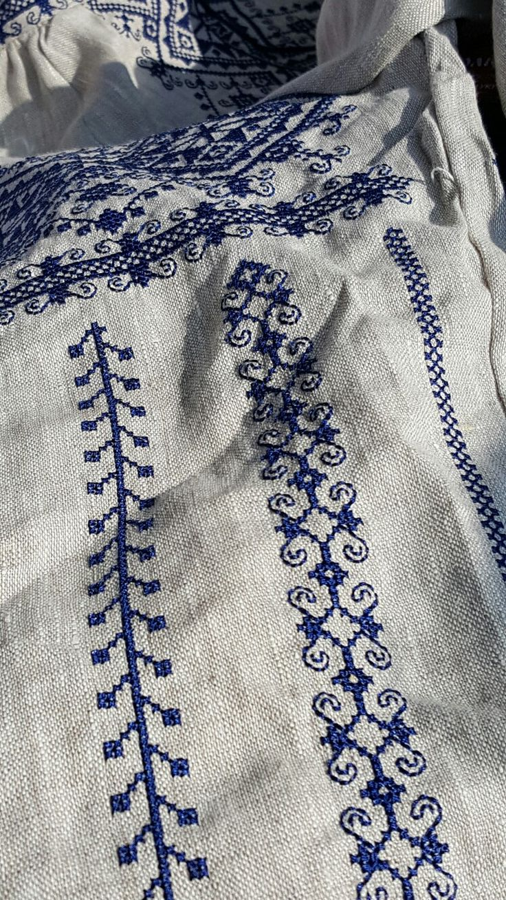 Ukrainian Embroided Blouse- Navy thread on beige -  would love to find in my size