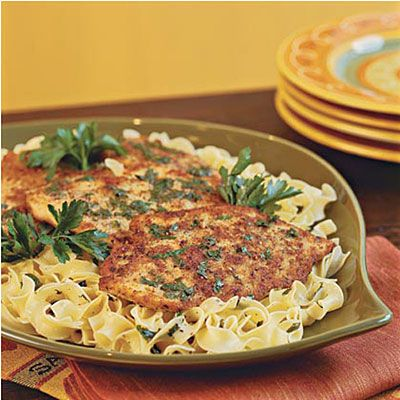 Quick Chicken Piccata Flattened chicken breasts absorb tons of flavor when cooking. Lemon juice, butter, and fresh parsley finish off this tasty dinner. Serve over warm egg noodles.
