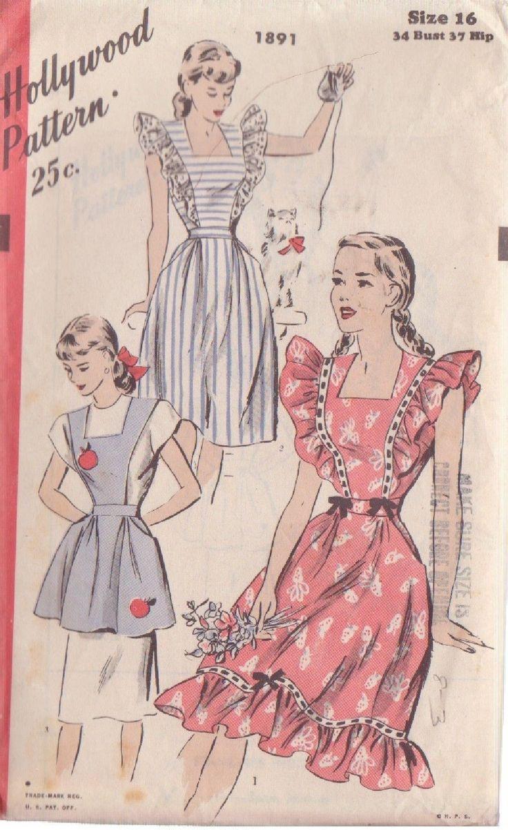 White pinafore apron ebay - Hollywood Pattern 1891 Misses Pinafore Or Apron Size 16 Ebay
