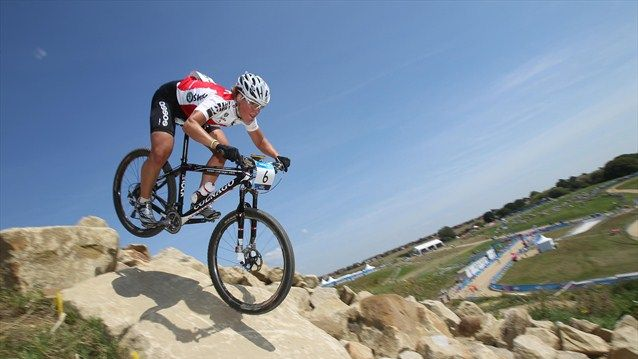 GB rider Liam Killeen test out the course at Hadleigh Farm