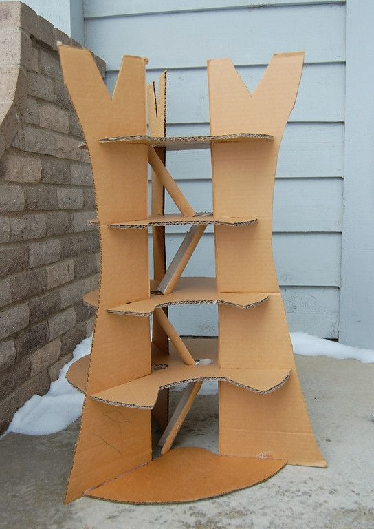 "making of a cardboard tree house. This gives me some ideas for the ""tree house"""