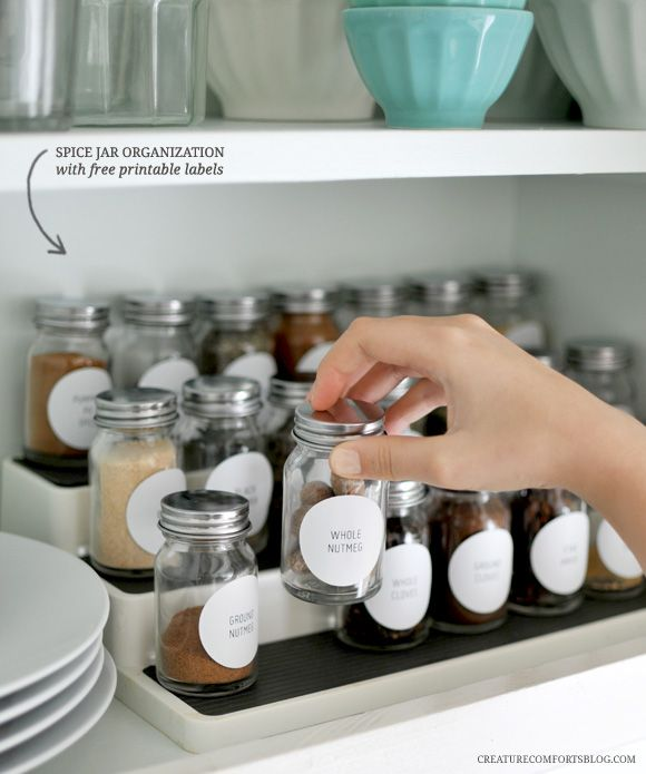 The Pinterest 100: DIY.  Spice jar organization with printable labels from the creature comforts blog.