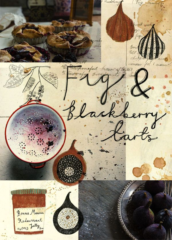 "kattfrank: "" Homemade fig and Blackberry tarts. Illustration and type by Katt Frank & Photography by Sean St John. """