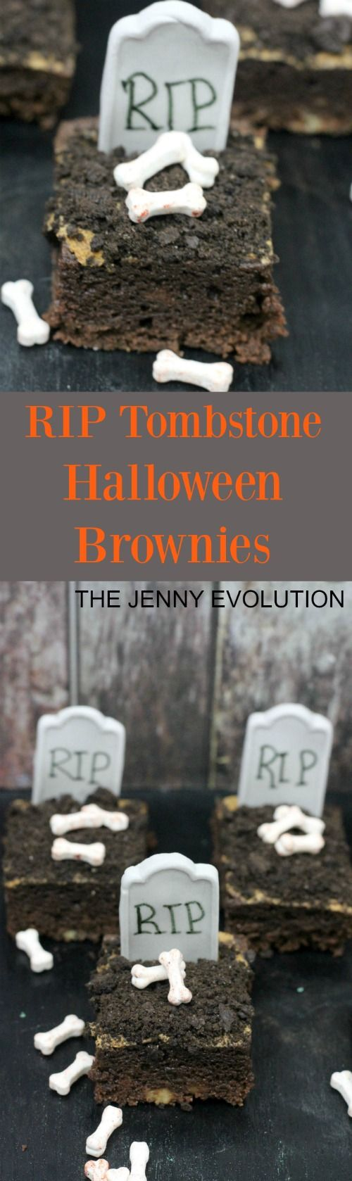 RIP Tombstone Halloween Brownies Recipe + Tutorial | The Jenny Evolution