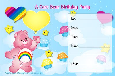 Free printable (retro) Care Bear birthday invitations from AlanaLeeDesigns