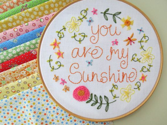 You are my Sunshine Hand Embroidery Pattern by SarahEdgarDesigns