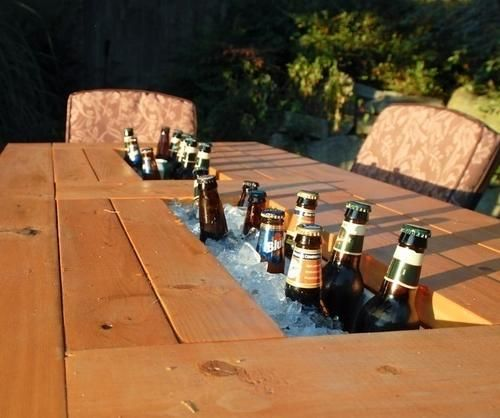 I think anything with built in cooler space is probably a good idea for summer. Kids wagon, outside seating, or this: DIY Patio Table With Built-In Beer/Wine Coolers.... complete plans