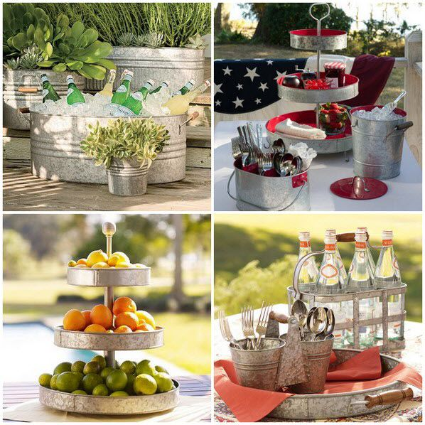 "Galvanized metal serving pieces - don't these just scream, ""Outdoor garden party!!"" at you?!"