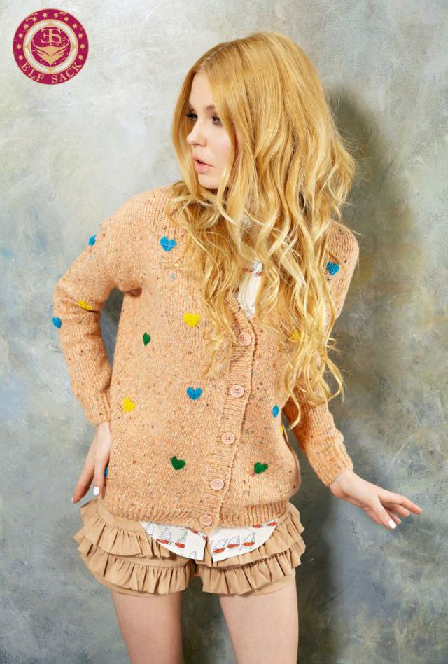 Cuddle Therapy Knit Cardigan with Multicolor Raised Stitch Hearts in Pink by Elf Sack | Sincerely Sweet Boutique