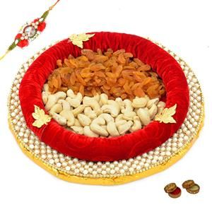 Tasty Dry Fruits Hamper with a Rakhi, Roli and Chawal