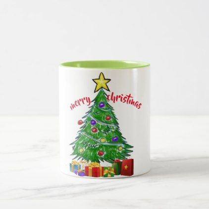 merrry christmas tree holiday design mug design - home decor design art diy cyo custom