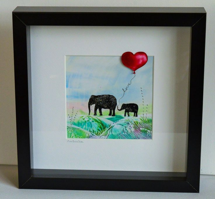 Encaustic wax painted silhoutte  elephants by Moo Doodle https://www.facebook.com/moodoodle15
