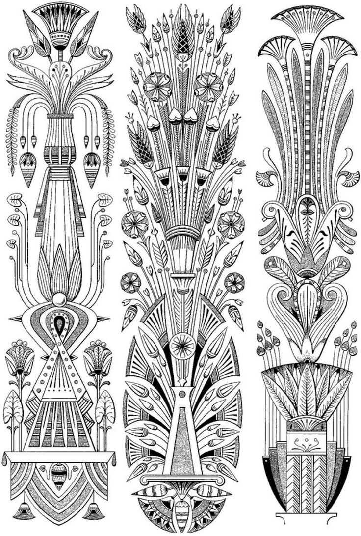 Dover Creative Haven Art Deco Egyptian Designs Coloring Page 2