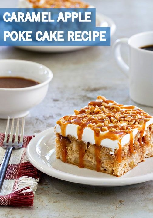 This Caramel Apple Poke Cake recipe is as easy as it is delicious. This moist, creamy, and cozy baked good is full of autumnal flavor in every bite. Top with a gooey caramel drizzle and toffee bits to make this fall desert even more irresistible.