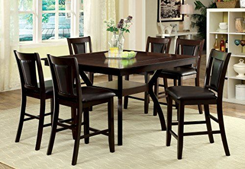 Contemporary style inspired pub dining set Dining table with wooden frame and angled legs, open shelf Chairs with rectangular chair back style, padded leatherette central splat and seat