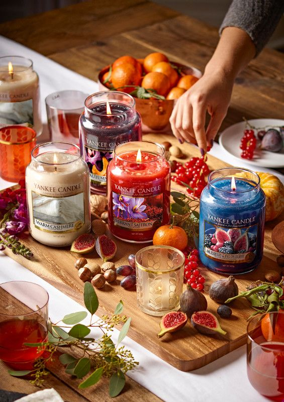 Yankee Candle's 'Fall in Love' Autumn 2017 Collection, they all sound lush! | L-R: 'Warm Cashmere', 'Autumn Glow', 'Vibrant Saffron' & 'Mulberry & Fig Delight'