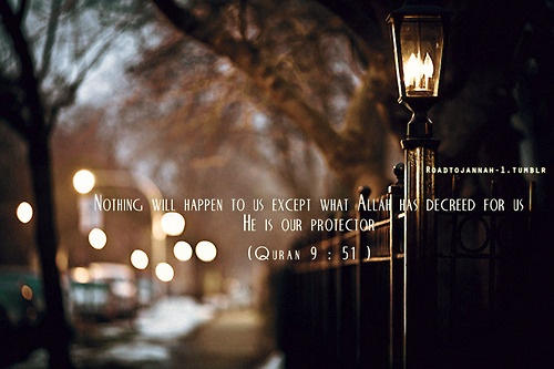 """Nothing will happen to us except what Allah has decreed for us: He is our protector"""" (Quran 9: 51 )"""