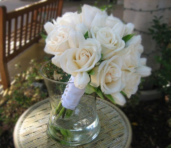 White tulips and white roses bouquet // La Jolla Village Florist: White Wedding Flowers For the La Jolla Wedding Bowl at Cuvier Park