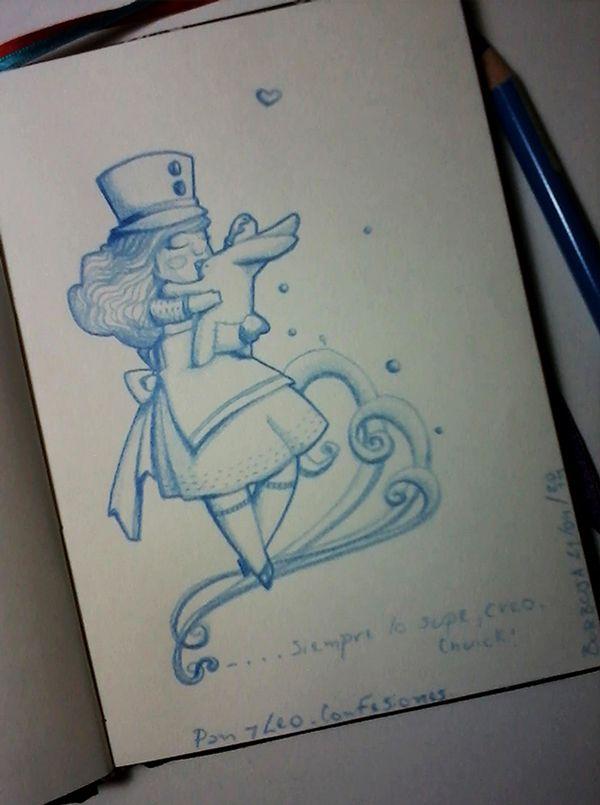 """Pan y Leo: Confesiones.""""...Siempre lo supe,creo. Chuick!"""" (Sonando The Raveonettes - Curse The Night). Sketchbook+lápiz azul."""