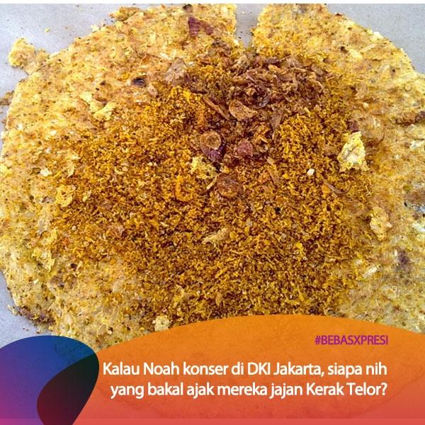 Sahabat Noah di Jakarta pastinya banyak nih yang pengen nongkrong bareng para personil dari Noah.. Apalagi sambil jajan kuliner khas Jakarta, Kerak Telor. Mau Noah konser di Jakarta? Vote di bebasxpresi.com! #BebasXpresi