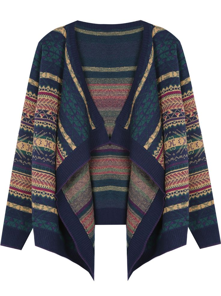 Is tribal pattern still cool? because I love this.... Navy Tribal Striped Pattern Draped Front Cardigan only $33?!