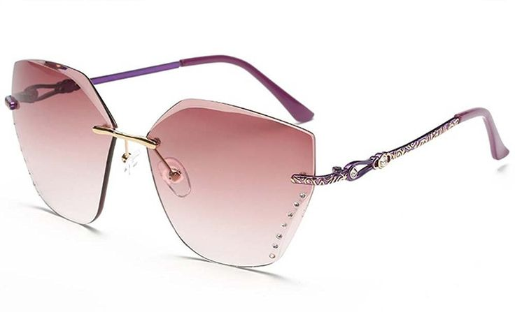 Europe and the United States fashion frameless sunglasses Ms. Made by #sfew Color #Purple. High quality nose pads?comfortable and easy Perfect adaptation nose pads.. Comfortable skin fit, allergies can also be easy to use, friendly design, fashion is so easy. Retro round mirror mirror movement, comfortable, simple, avant-garde, personality, classic.