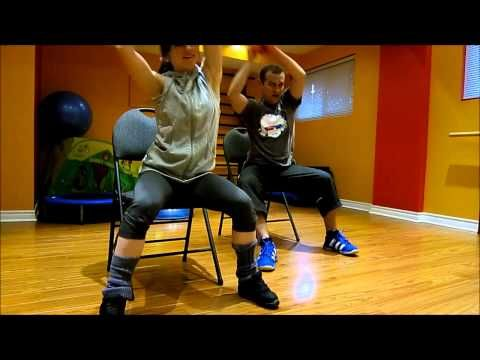 Cardio workout on a chair (for people with bad/weak/injured knees) - YouTube