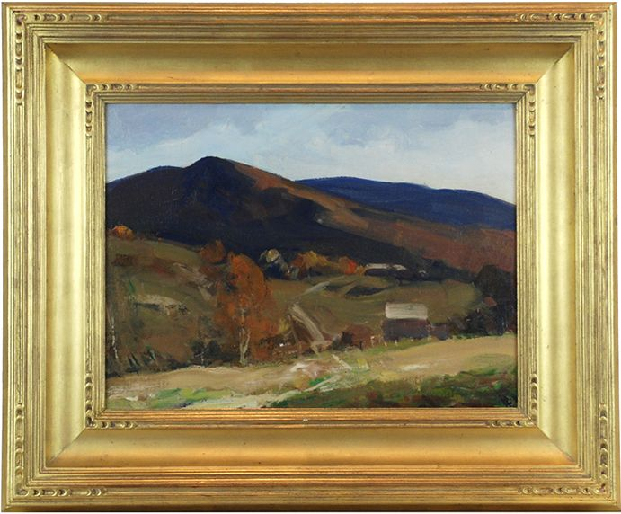 """""""Road Through Vermont Mountains,"""" Charles Curtis Allen, oil on canvasboard, 12 x 16"""", New England Gallery."""