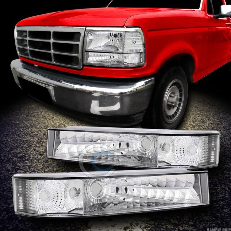 92 96 F150 F250 F350 Bronco Clear Lens Chrome Crystal Head