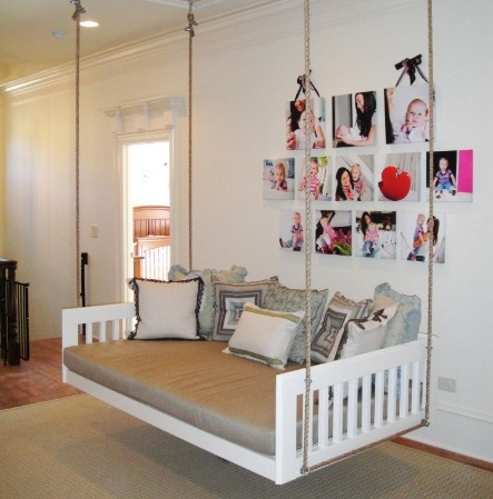 Swinging bed how great would this be home decor ideas for Suspended beds for kids