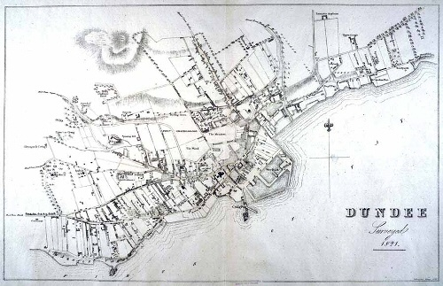 Dundee map from Wood's Town Atlas, 1821. (from http://www.leisureandculturedundee.com/library/deidonum )