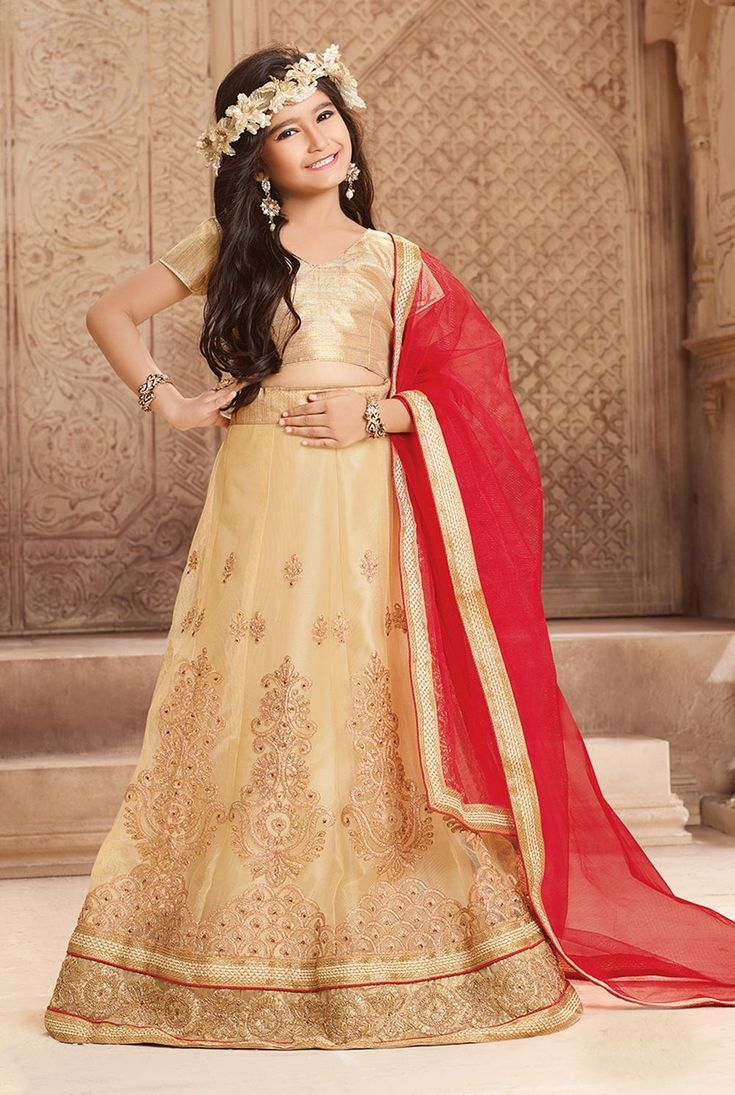 Patch work cream ghagra choli in net for festive wear