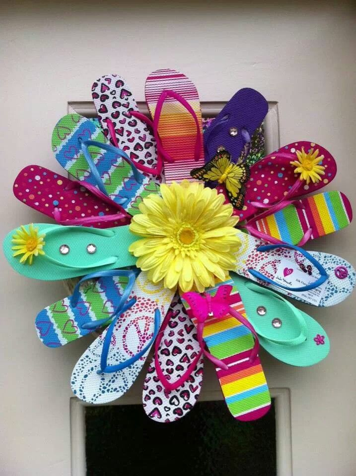 1000 images about create flip flop wreaths on for Flip flops for crafts