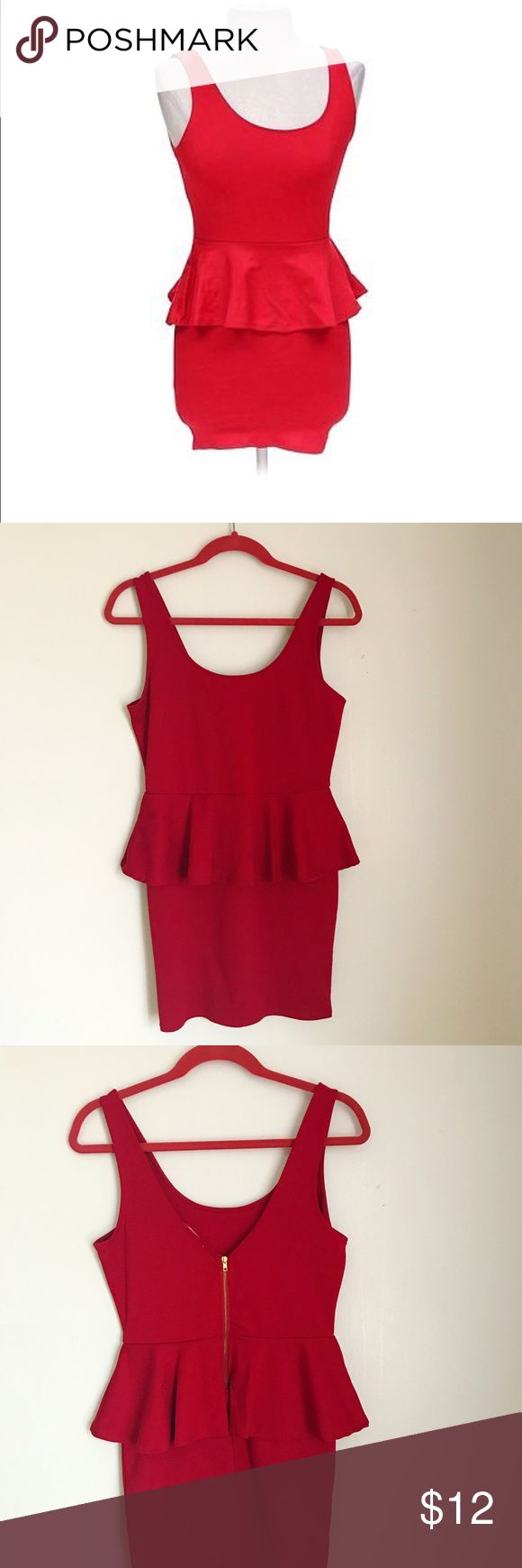 Juicy red peplum dress. Juicy red Ambiance apparel peplum bodycon dress with exposed gold zipper closing in the back. Stretchy material and very flattering on any figure. Size:L. Overall good condition apart from minor stain as shown in picture. Ambiance Dresses Mini