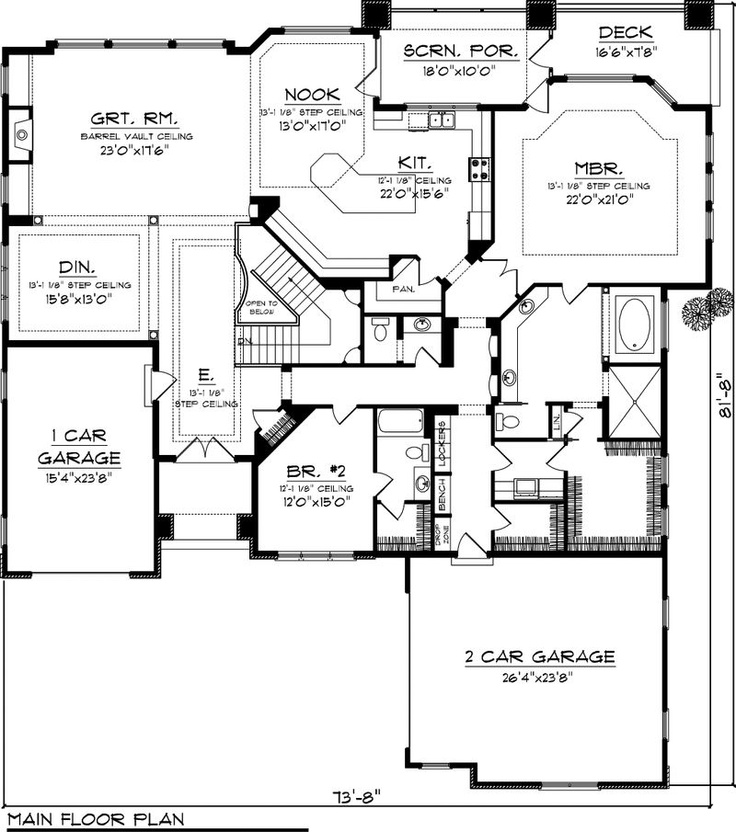 House plan 70 1064 3 194 sq ft remove bump out window for Home plans with basement garage