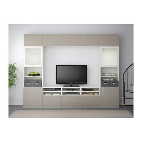 BESTÅ TV storage combination/glass doors - white/Selsviken high gloss/beige frosted glass, drawer runner, soft-closing - IKEA