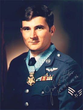 SGT John Lee Levitow (1945-2000) USAF. Medal of Honor for actions in the air over Long Binh Army Post, Vietnam, on 24 Feb 1969. as a loadmaster aboard an AC-47 flying a night mission, Levitow's aircraft was struck by a hostile mortar round. An activated flare was dropped which would have doomed the aircraft. Levitow, suffering from over 40 fragment wounds, retrieved the flare and hurled it through the cargo door. He was the lowest ranking airman in history to earn the Medal of Honor. Read…