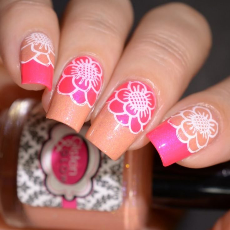 Shimmer Me Box July 2017 stamping nail art peach and hot pink flowers
