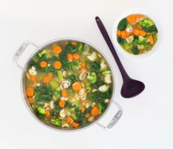 The healthiest ingredients possible with lots of veggies and soothing tea, all in one pot. Perfectly balance your plate: Serve with (or add to soup) 1 serving protein and 2 servings grain/starch.