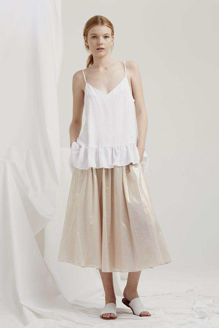 Parasol Top - Vintage White Matinee Skirt - Rose Gold
