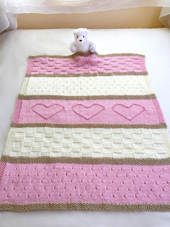 Pattern name: Baby Heart Blanket The pattern is written in English only. This adorable baby blanket pattern is easy to knit with simple, basic stitches. It would be a wonderful gift for any sweet new baby. Included is the full size throw version, shown in blue in the last