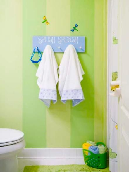 "Although this green-themed bathroom features frogs, dragonflies and lily pads, a more adult look can be instantly traded in when the kids require a more ""grown-up"" bathroom design. Design by RMS user giftednotions"